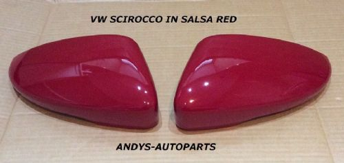 VW SCIROCCO 2008 ONWARDS PAIR OF WING MIRROR COVER L/H & R/H IN SALSA RED